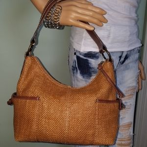 FOSSIL GENUINE CLASSIC TAN WOVEN LEATHER HANDBAG